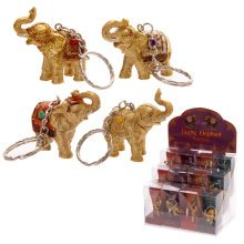 Lucky Elephant Key Ring - Assortment of 4