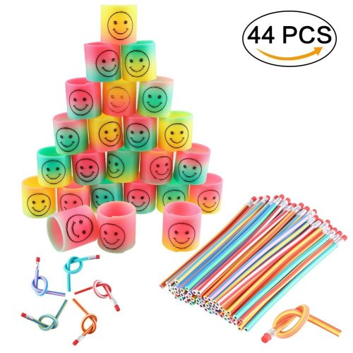 LOKIPA Kids Party Bag Fillers- 24 Mini Rainbow Smiley Face Springs and 20  Soft Flexible Bendy Pencils for Party Bag Fillers