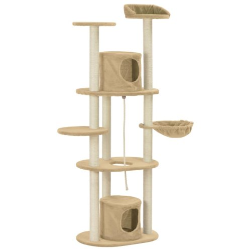 vidaXL Cat Tree with Sisal Scratching Posts Beige 160cm Kitten Play Tower