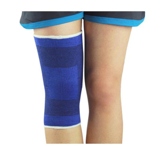 A Pair of Elastic Knee Support Sleeve Brace Pad for Sports Basketball Gym - Blue