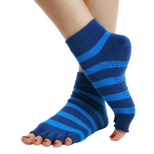 Blue Non Slip Half Toe Yoga Socks Cotton Strong Grip Toeless Socks for Women