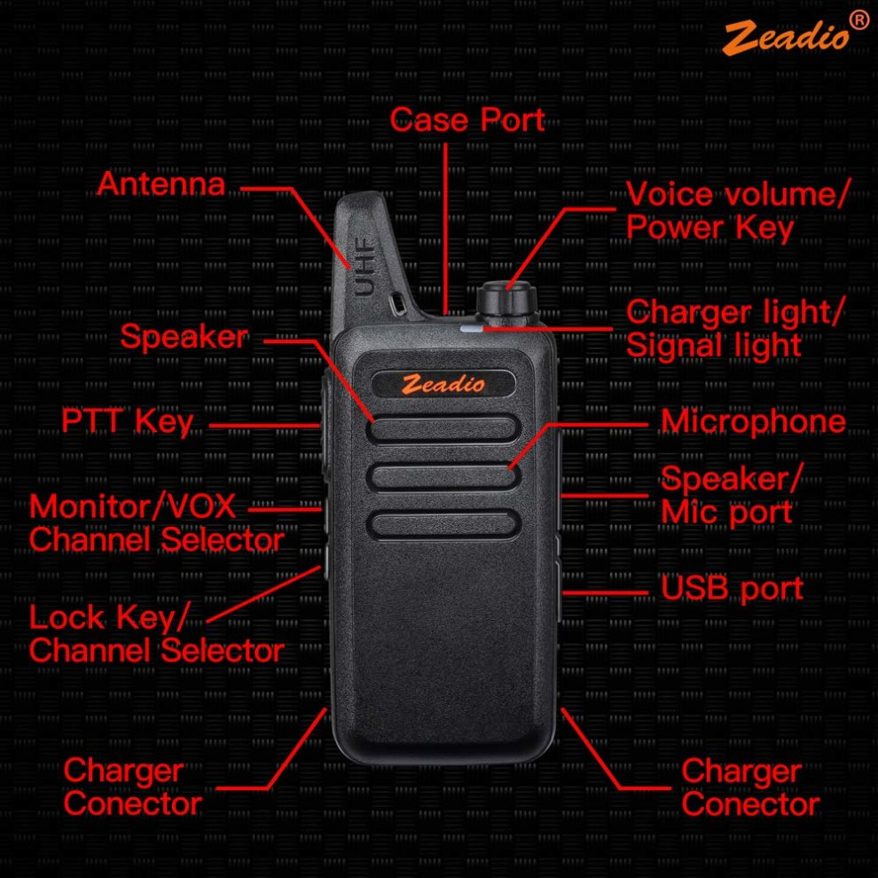 Zeadio PMR446 Ultra-thin Lightweight Walkie Talkies, 16-Channel Long Range  License-Free Single Band Slim Two-Way Radio with Belt Clip and