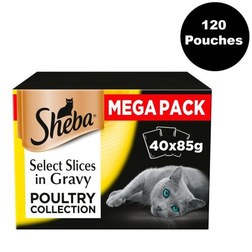 Sheba Select Slices Cat Pouches Cat Food Poultry In Gravy 85g 120 Pouches