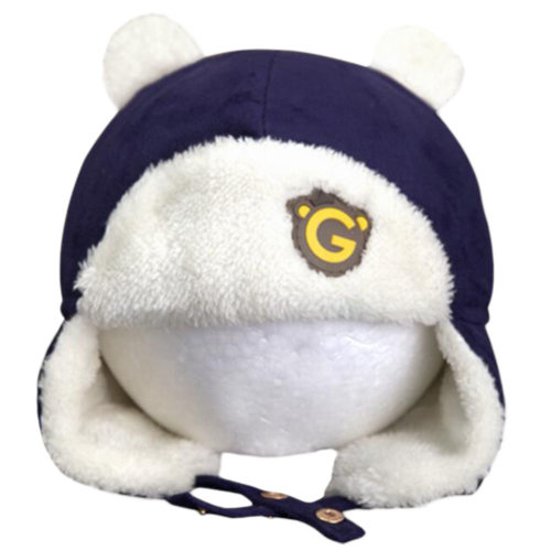 Cute Winter Baby Kids Warm Earmuffs Hats Comfortable Plush Caps Best Gift-Navy