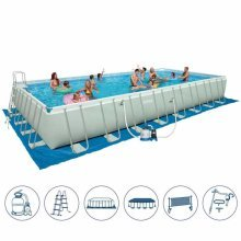 Intex 26376 Former 28376 XL Ultra Frame Above Ground Pool Rectangular with Volley Net 975x488x132