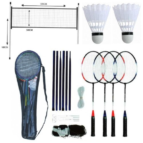 PROFESSIONAL BADMINTON SET 4 PLAYER RACKET SHUTTLECOCK POLES NET BAG GAME 211074