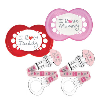MAM 6+M Style Soother and 2 Soother Clips - Girl (Pink)