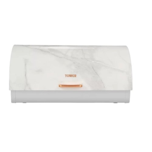 White Marble Rose Gold Roll Top Bread Bin, Stainless Steel,