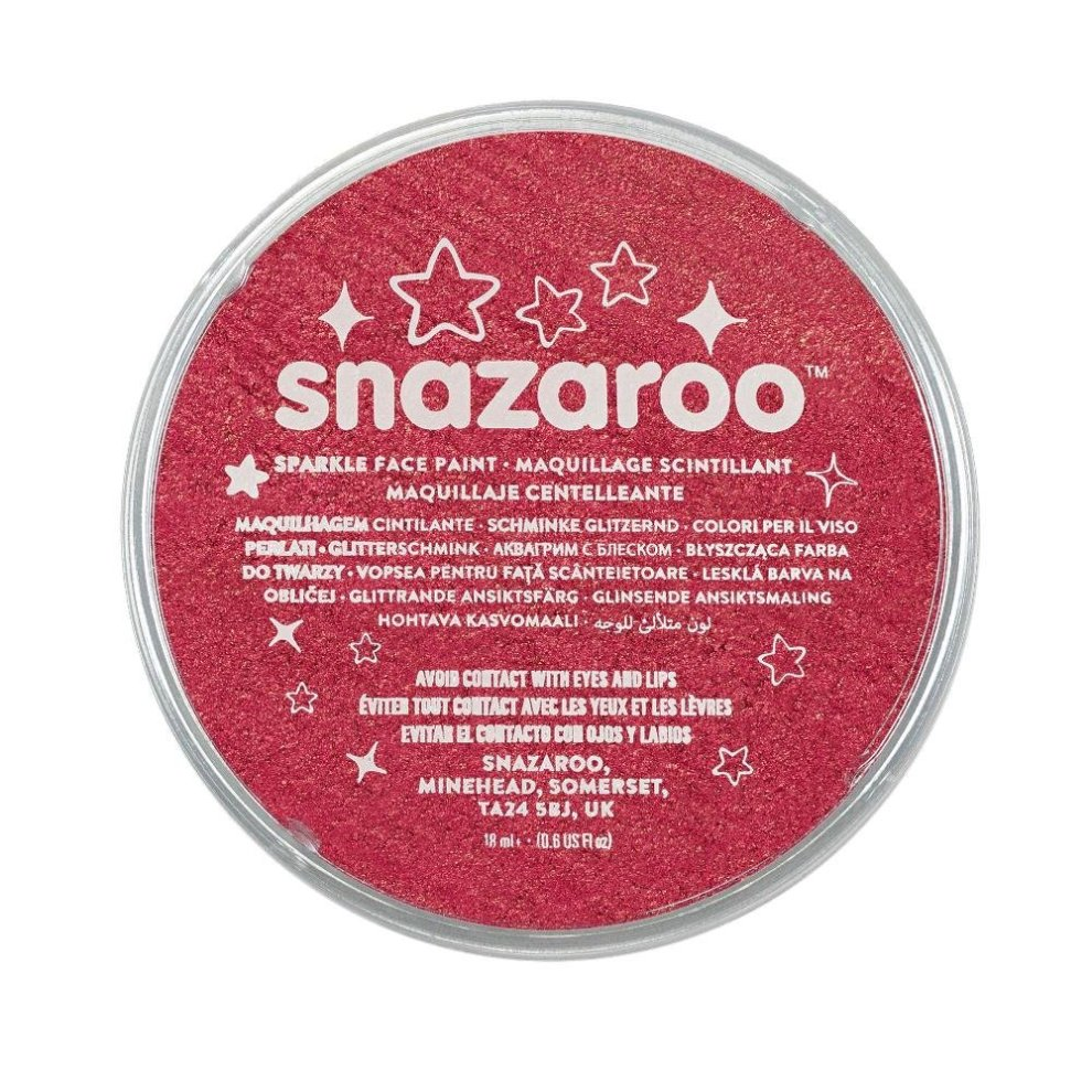 Snazaroo Sparkle 18ml Red Face Paint Colours Body Make Up Fancy Dress Paints