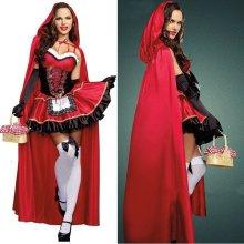 Ladies Little Red Riding Hood Fairytale Halloween Dress Costume Cloak