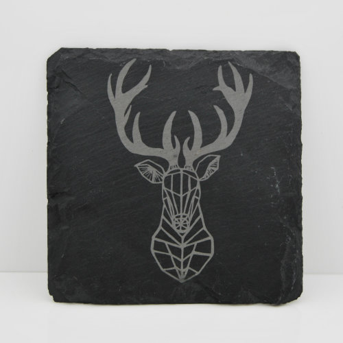 Engraved Slate Coaster - Geometric Stag