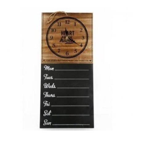 """Vintage Chalkboard """"Heart Of The Home"""" Wall Clock With Week Days Planner"""