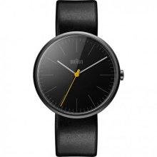 Braun Men's Quartz Watch with Black Dial Analogue Display and Black Leather Strap BN0172BKBKG