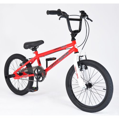"""Muddyfox Griffin 18"""" BMX Bike with Stunt Pegs in Red and White"""
