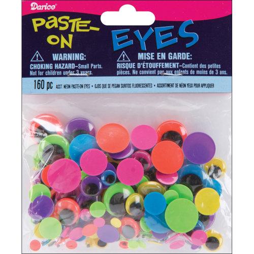 Paste-On Wiggle Eyes Assorted 160/Pkg-Black On Neon