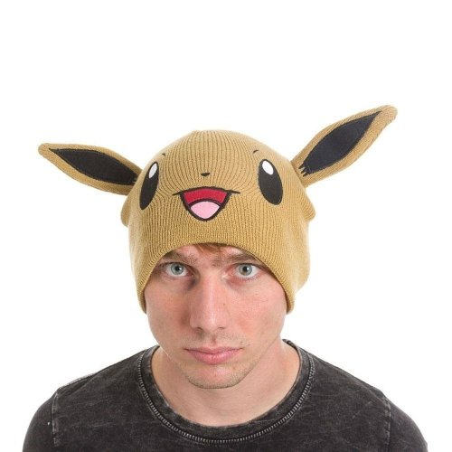 Pokemon Unisex Eevee Face and Ears Cuffless Beanie One Size - Brown