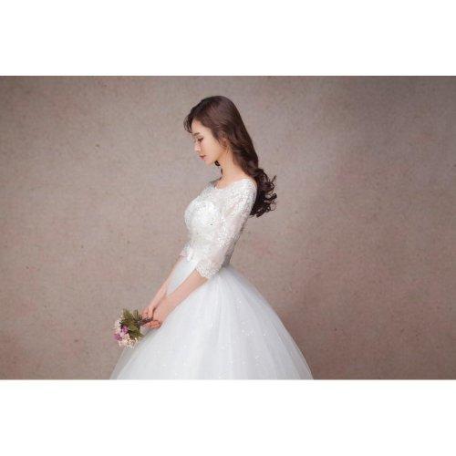 long half sleeve muslim lace wedding dress high quality 2018 bride simple bridal gown real photo wedding-dress vestido de noiva