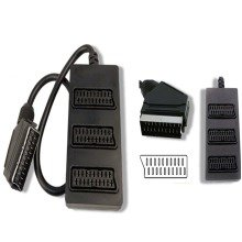 3 Way SCART Cable Box Signal Splitter for use with TV, DVD, VHS, Xbox