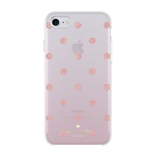 new product 4d98e ce095 Kate Spade Protective Hard Shell Glitter Ombre Case for iPhone 7S/7 -  Glitter Dot Foxglove/Rose Gold Glitter