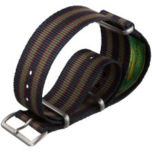 Vintage Bond Nylon Watch Strap NATO Dark Blue/Red/Green Stripe 20mm Satin