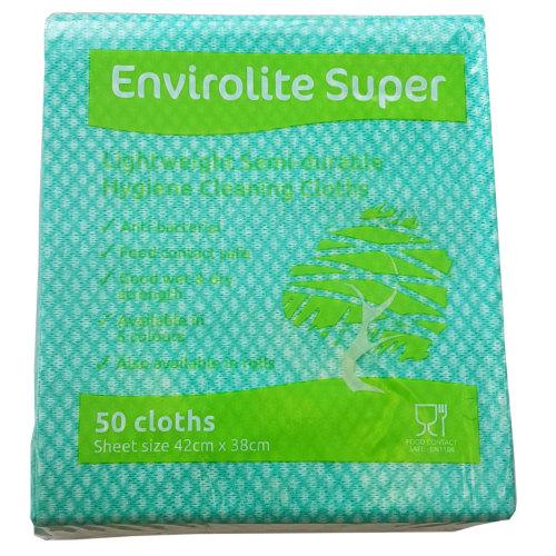 "EcoTech""Envirolite"" Super Folded Cleaning Cloth, Green, Medium, Pack of 50"