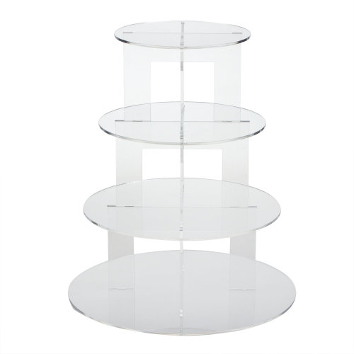 TRIXES Clear Circular 4 Tier Cake Stand for Baking Displays