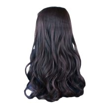"One-piece Curly Wave Clips on Hair Extensions Hairpieces 5 Clips 20"" Black Brown"
