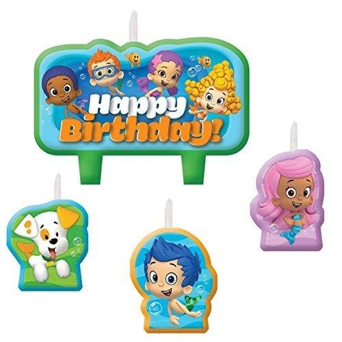 """Adorable Bubble Guppies Birthday Cake Candle Set Decoration, 2"""" x 3"""", Pack of 4."""