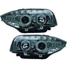 Bmw 1 Series (e81/82/87/88) 2007-2012 Chrome Drl Angel Eye Headlights Pair