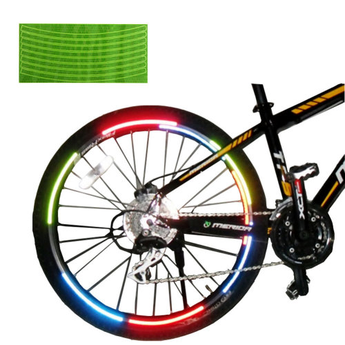 [GREEN]Unique Colour 6 Pics Reflective Bike Rim Sticker Wheel Decal Sticker
