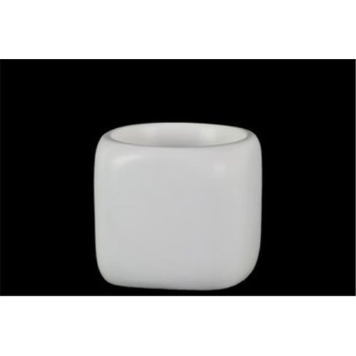 Urban Trends Collection 37328 Small Ceramic Round Pot with Double Wall, White
