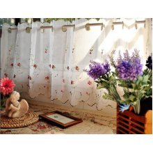 Rose Embroidery Window Tier White Weavy Cafe Curtai,60*150cm
