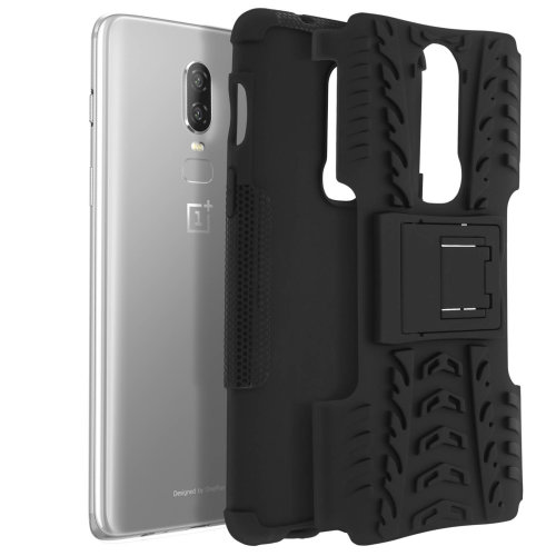 Shockproof Stand case Backcover for OnePlus 6 & Kickstand - Black