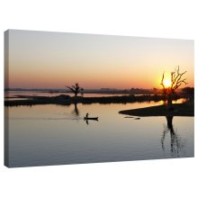 Canoe Lake Sunset Canvas Wall Art Picture Print