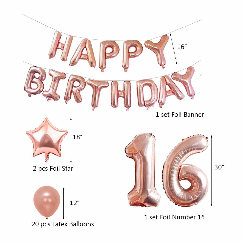 Yoart 16th Birthday Decorations Rose Gold Party Sets Happy Banner