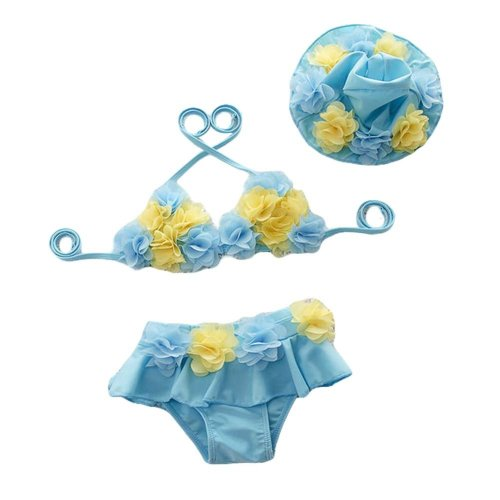 Sky Blue Flower Girl Two-Piece Swimsuit Little Girl Bikini with cap, 15-20 kg