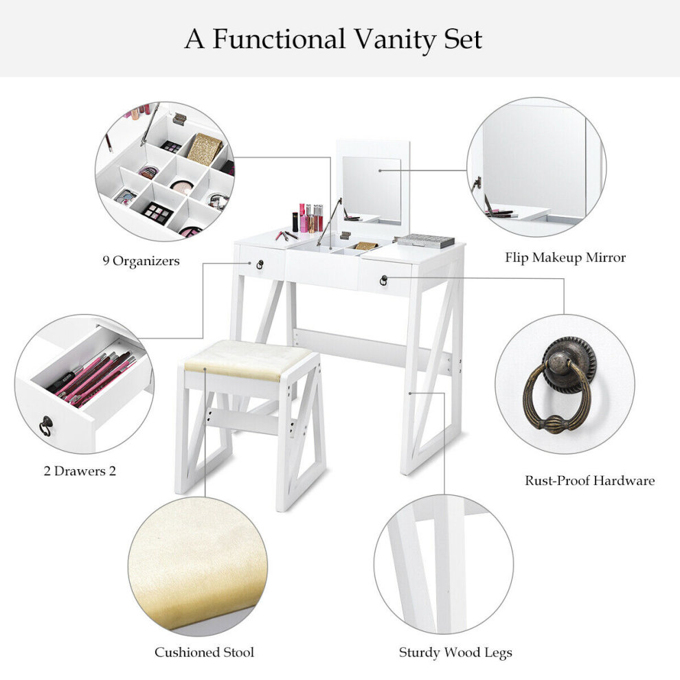 Astonishing 2 In 1 Vanity Set Makeup Desk Dressing Table Flip Top Mirror Ncnpc Chair Design For Home Ncnpcorg