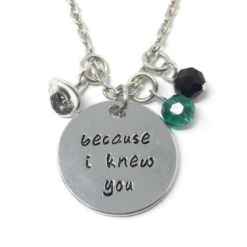 Silver-Tone 'Because I Knew You' Engraved Pendant Necklace 2.2cm Diameter With 18 Inch Chain Wicked Witch Good Hat