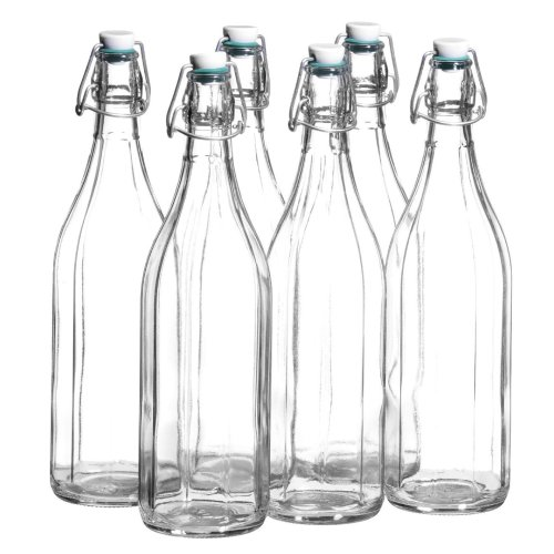 Mäser, Bügel Series, 10 Edged Bottle with Clip-Top, 1 Litre, 6 Piece Set