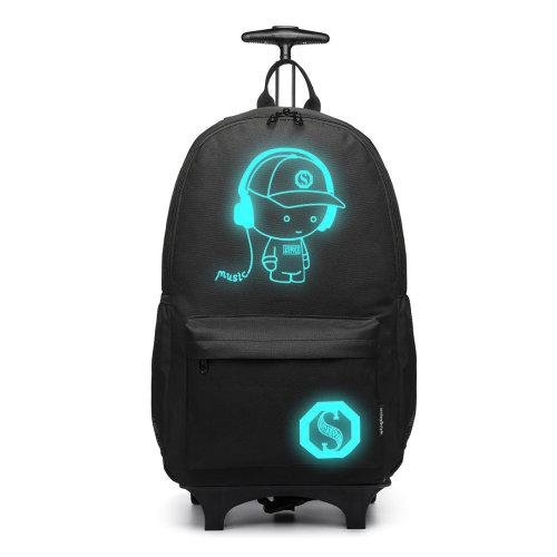 095281a8f386 Kono Rolling School Bag for Boys Girls Anime Luminous Backpack Men Women  Wheeled Laptop Backpacks Waterproof Travel Rucksack Black