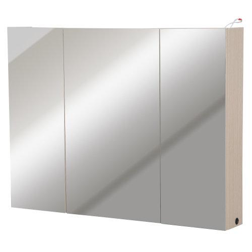 Kleankin Triple Door LED Wall Mounted Glass Mirror Cabinet Modern Storage  Unit Bathroom Shelf Organiser Waterproof Wooden Frame