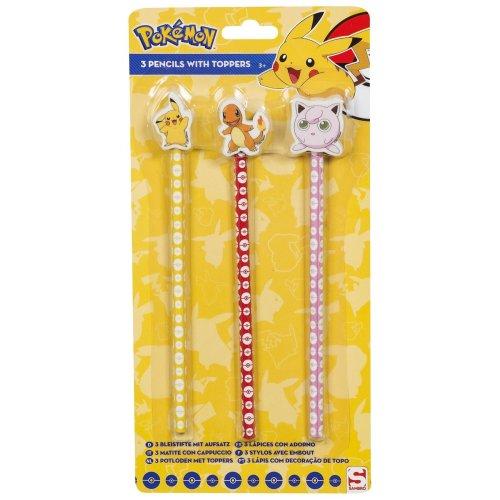 3pc Pokémon Pencils & Toppers