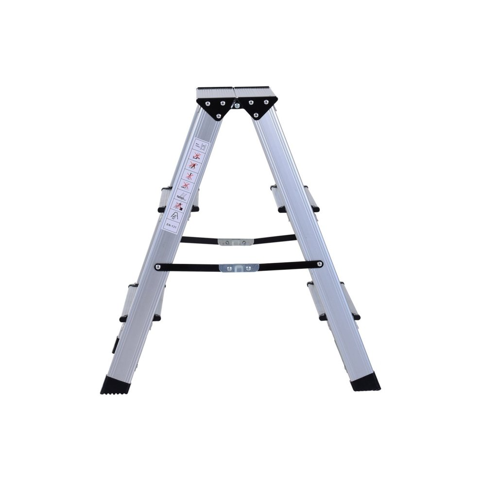 Homcom Aluminium Double Sided Step Ladder Folding A Type