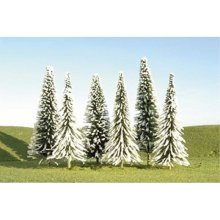 "Bachmann Industries Scene Scapes Trees 2""- 4"" Pine Trees With Snow N Scale Train (36 Piece)"