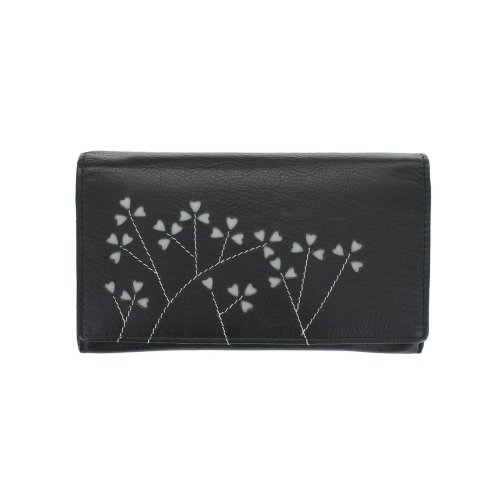 Mala Leather BANYAN Collection Ladies Leather Flap Over Purse 3222_18b Black