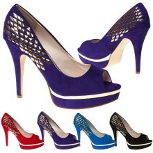 Cheska Womens High Stiletto Heel Studded Platform Peep Toe Court Shoes