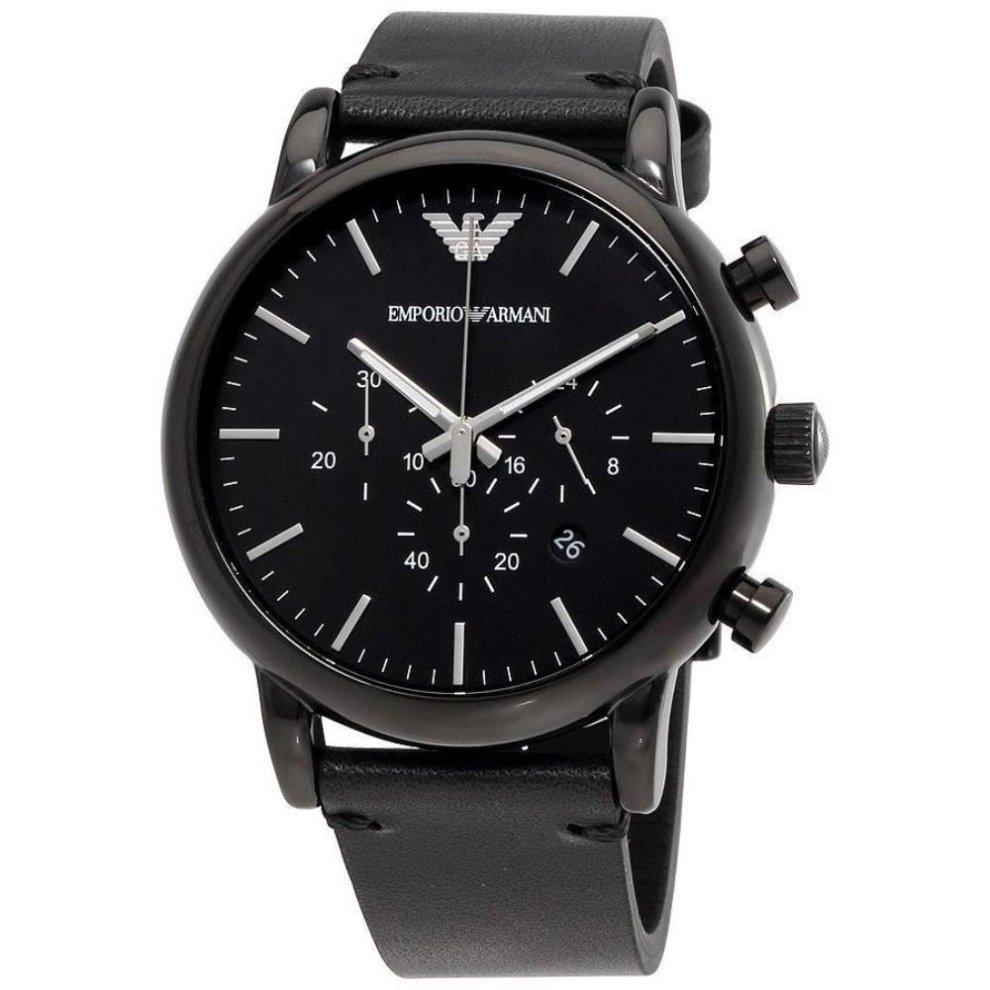 264981ff2d Emporio Armani Mens Gents Chronograph Watch Black Leather Strap Black Dial  AR1918