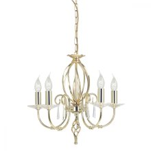 Polished Brass 5lt Chandelier - 5 x 60W E14 by Happy Homewares