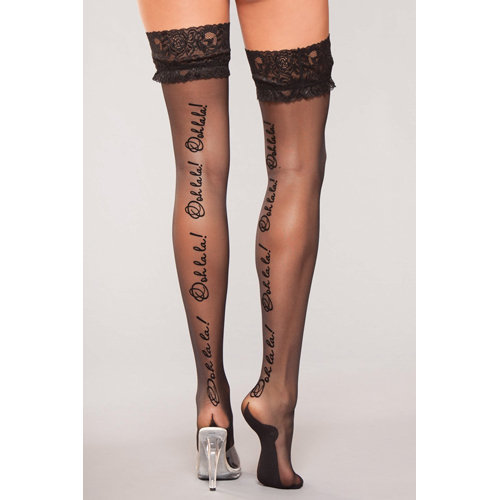 """Stockings With \Oohlala\"""" Text  Ladies Lingerie Stockings - Be Wicked"""""""""""""""