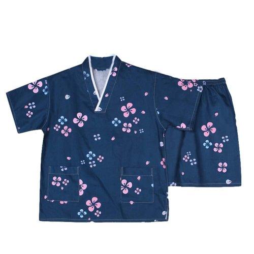 Men Pajamas Suit Dark Blue Flora Pattern Summer Short Pajamas Khan Steam Clothes
